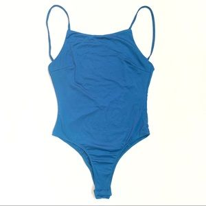NEW Blue square neck open back sleeveless bodysuit